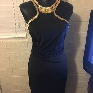Ark & co Gorgeous black and gold beaded dress